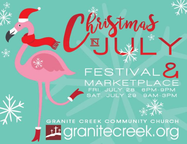 Christmas in July Festival & Marketplace Tonight, Fri, 6 - 9 pm, and Saturday 9 am - 3 pm.