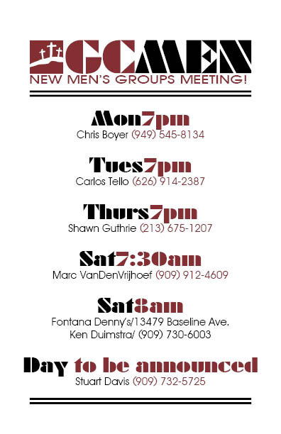 Current Men's Groups - call or text for details, as locations and events may change.