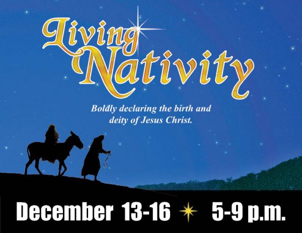 Come to the Living Nativity - runs Friday, Saturday and Sunday, December 14-16!!!