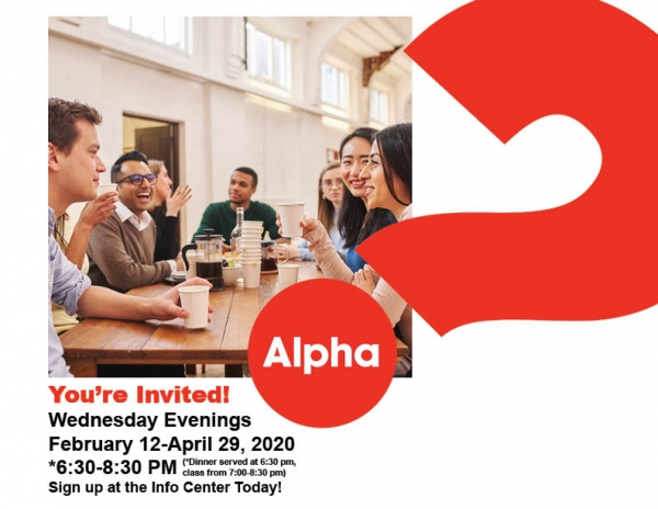 College & Young Adult Group (18-30 yrs) is doing Alpha on Wednesdays, Feb 12 - April 29.